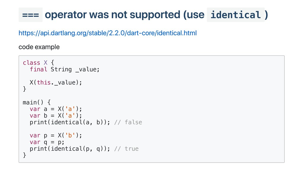 === operator was not supported (use identical )...