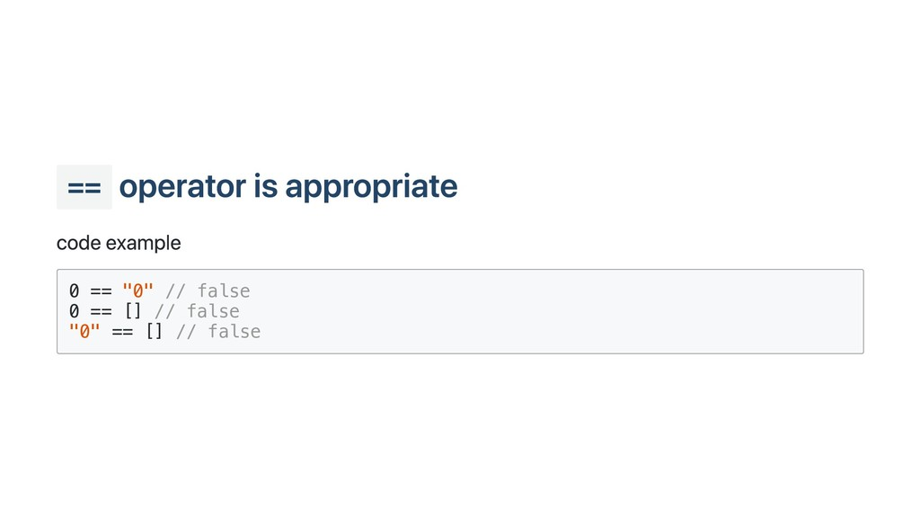 """== operator is appropriate code example 0 == """"0..."""