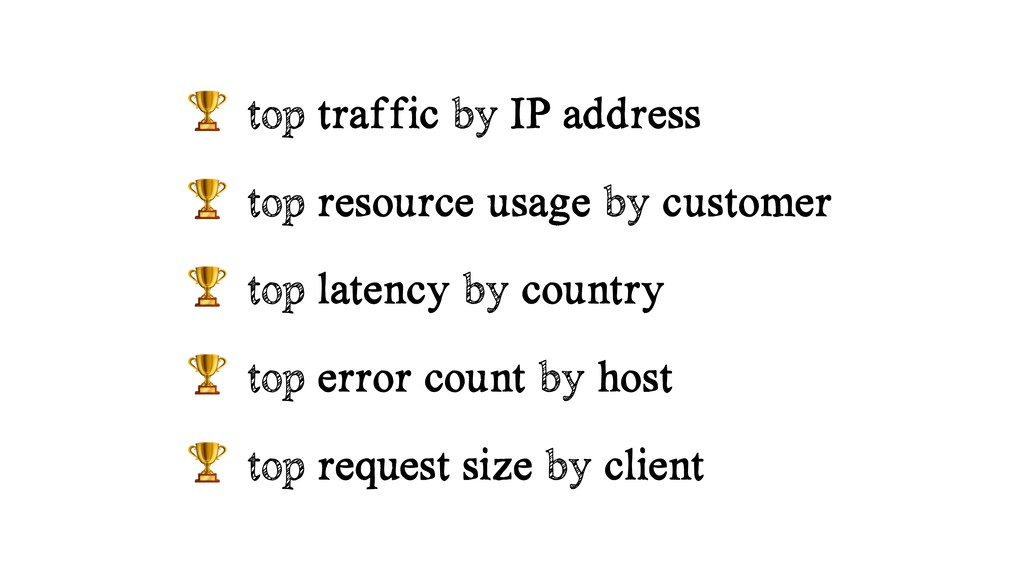 top traffic by IP address  top resource usage ...