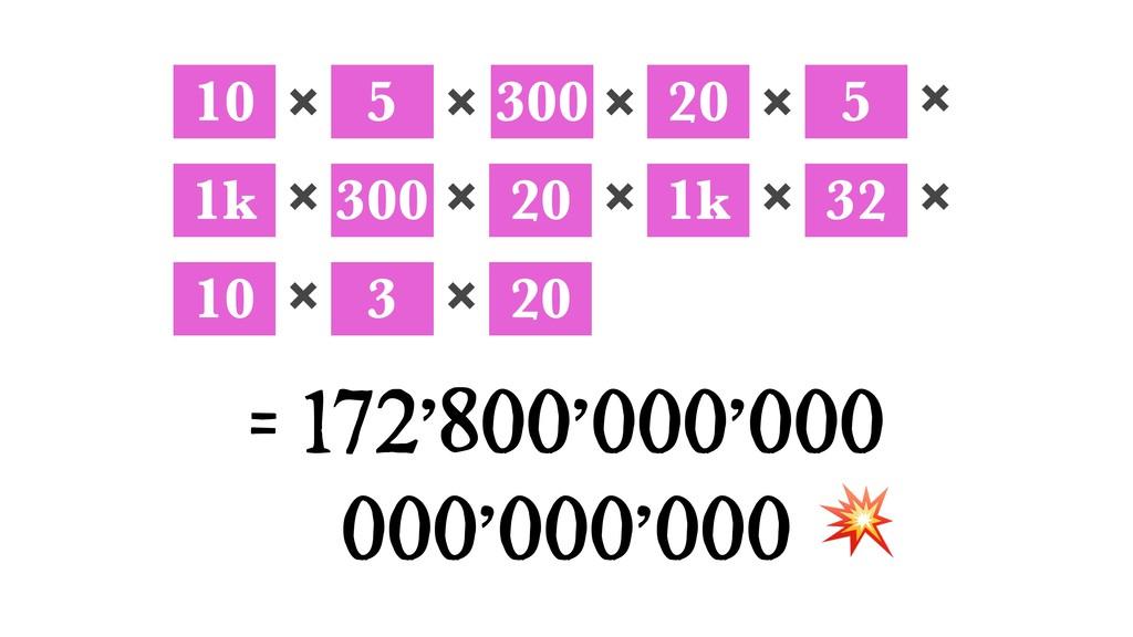 10 5 300 20 5 ✖ ✖ ✖ ✖ = 172'800'000'000 000'000...