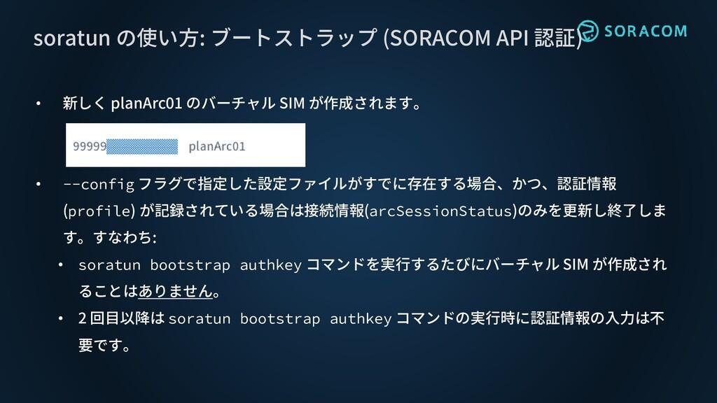 • 新しく planArc01 のバーチャル SIM が作成されます。 • --config ...