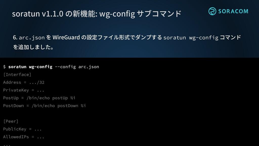 6. arc.json を WireGuard の設定ファイル形式でダンプする soratun...
