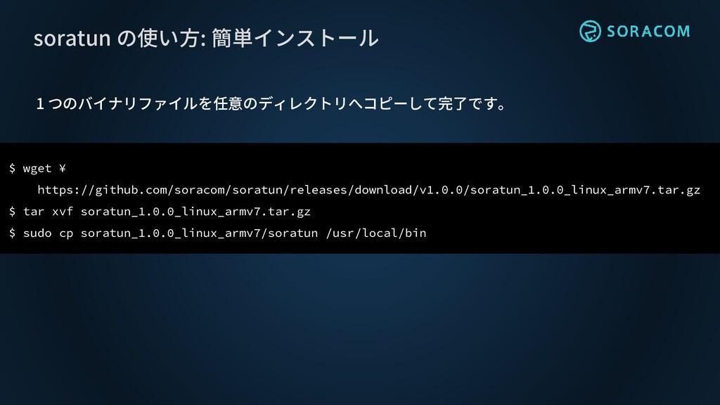 1 つのバイナリファイルを任意のディレクトリへコピーして完了です。 soratun の使い方:...