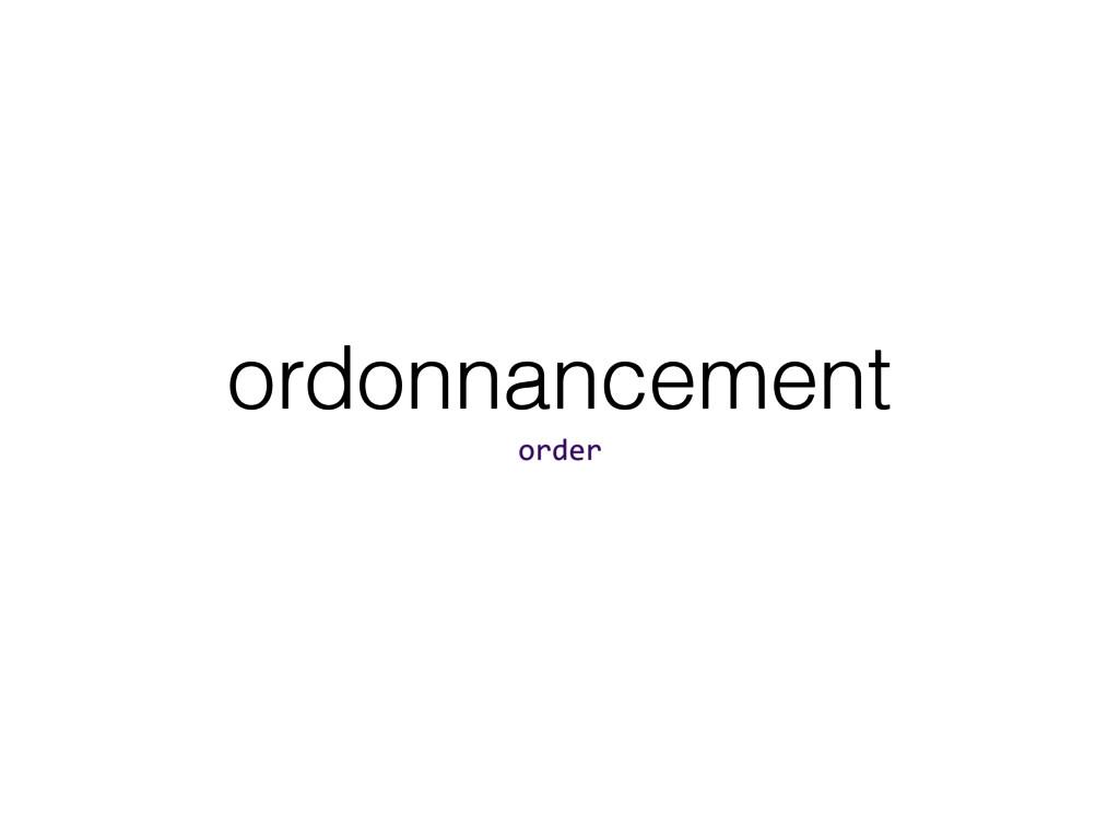 ordonnancement order