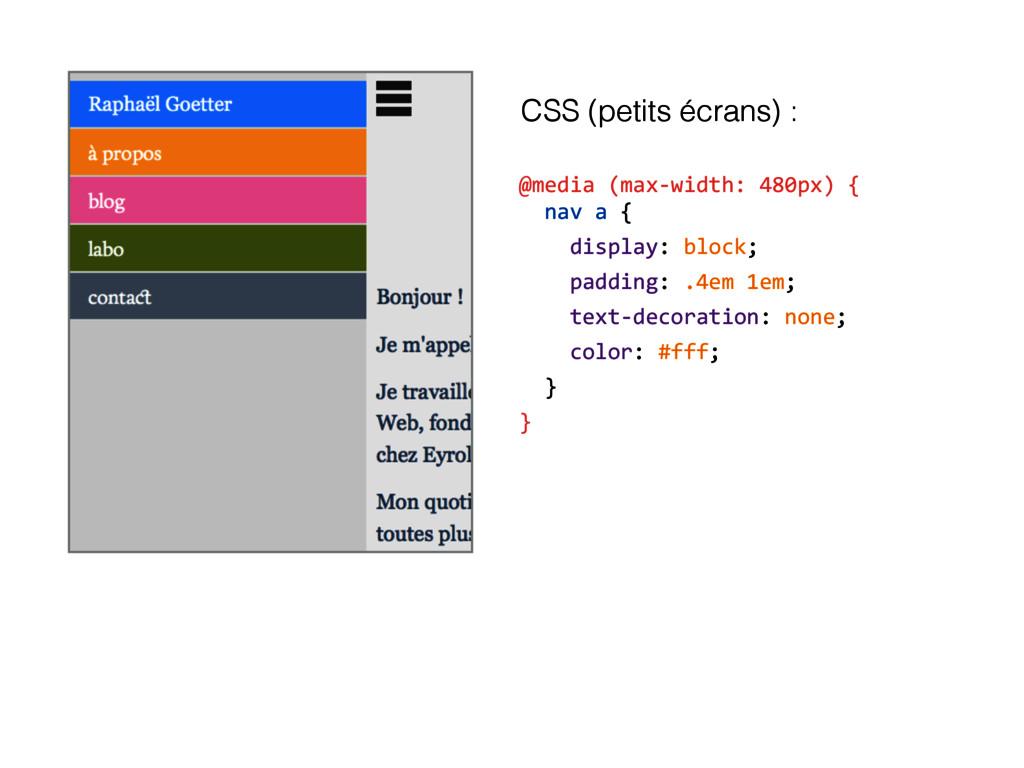 @media (max-width: 480px) { nav a { display: b...