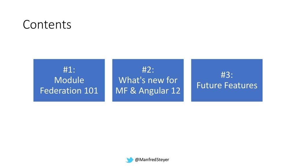 @ManfredSteyer Contents #1: Module Federation 1...