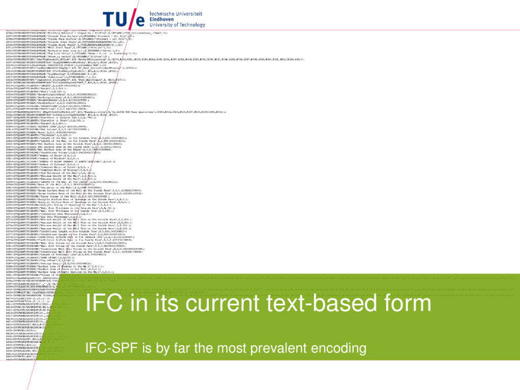 IFC in its current text-based form IFC-SPF is b...