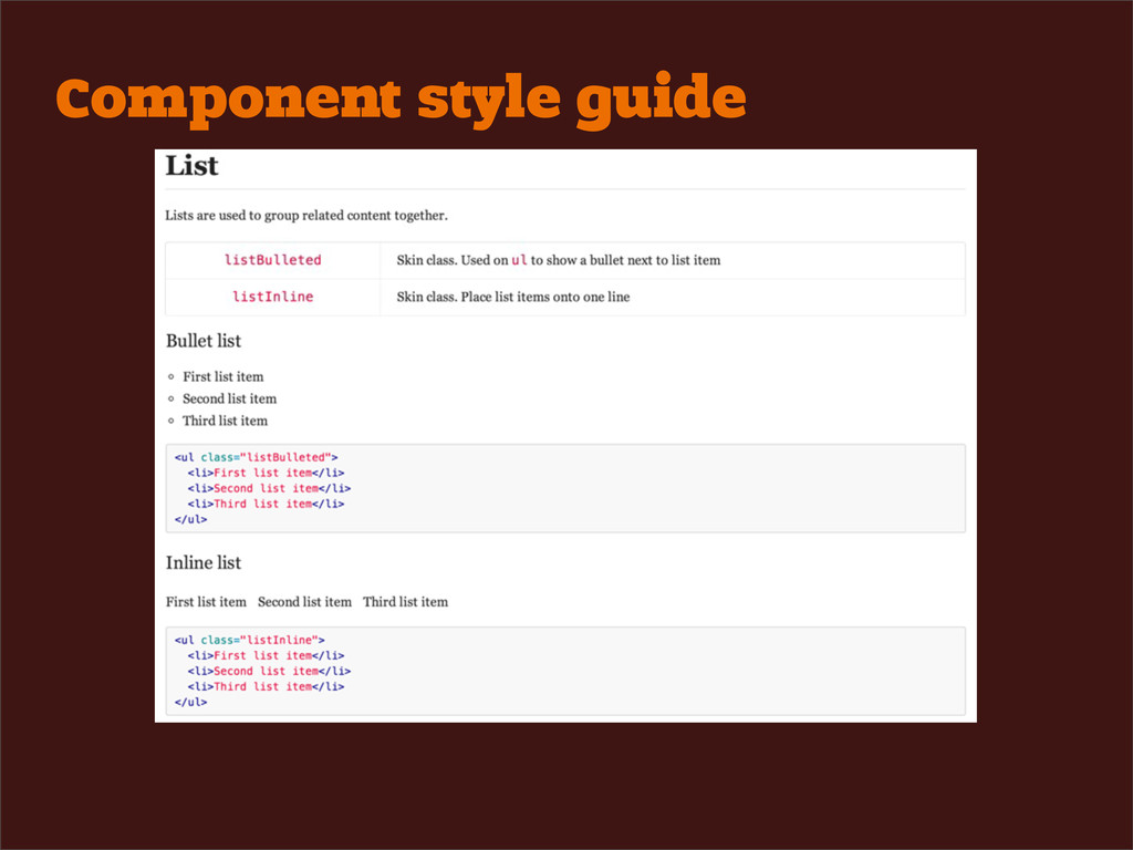 Component style guide