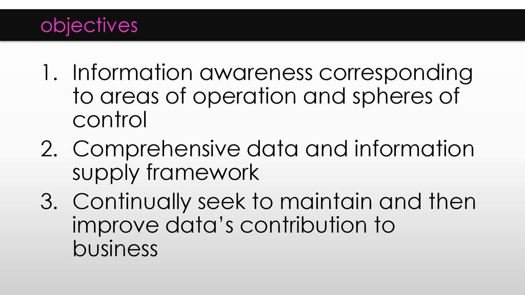 objectives 1. Information awareness correspondi...
