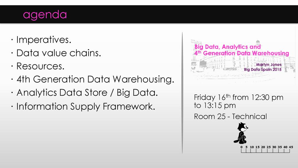 agenda ∙ Imperatives. ∙ Data value chains. ∙ Re...