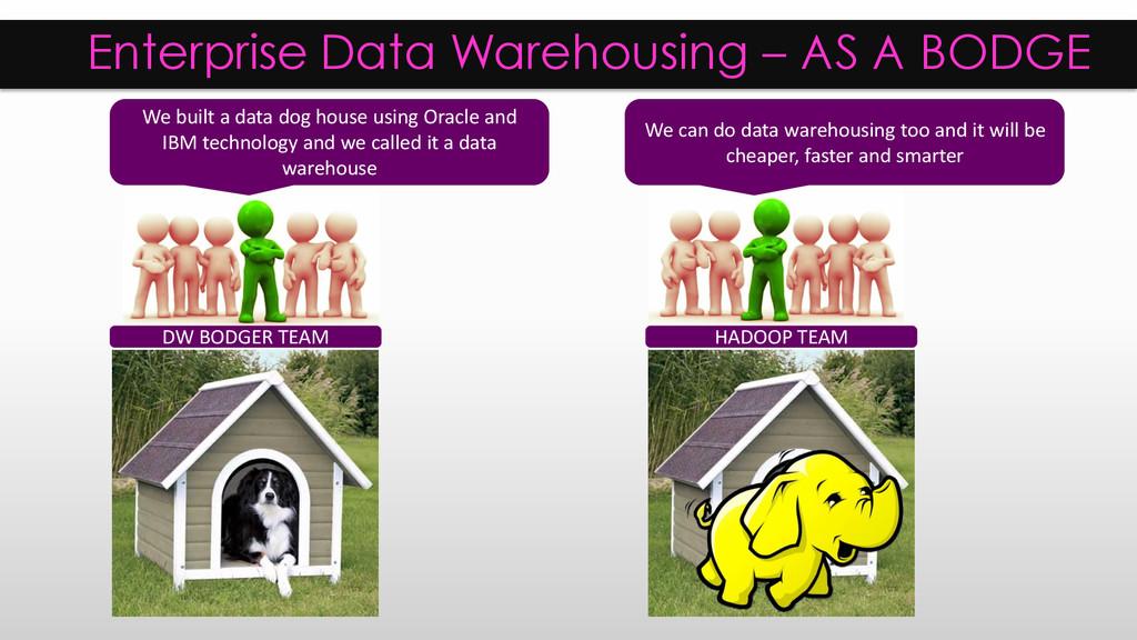Enterprise Data Warehousing – AS A BODGE DW BOD...