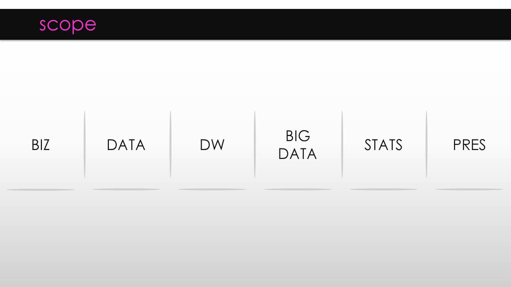scope BIZ DATA DW BIG DATA STATS PRES
