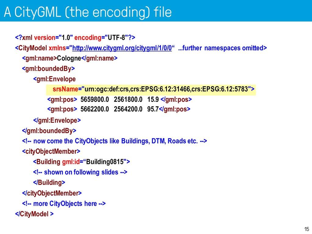 A CityGML (the encoding) file 15 <?xml version=...