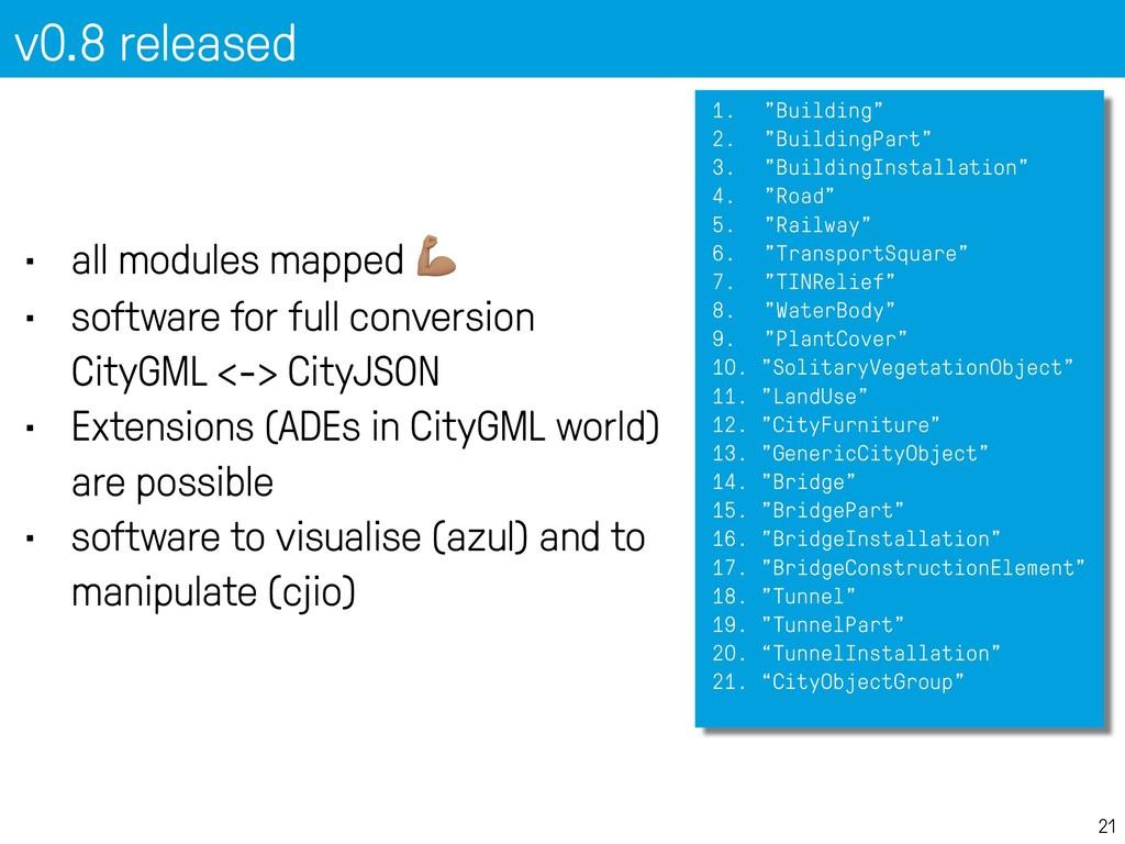 "v0.8 released 21 1. ""Building"" 2. ""BuildingPart..."