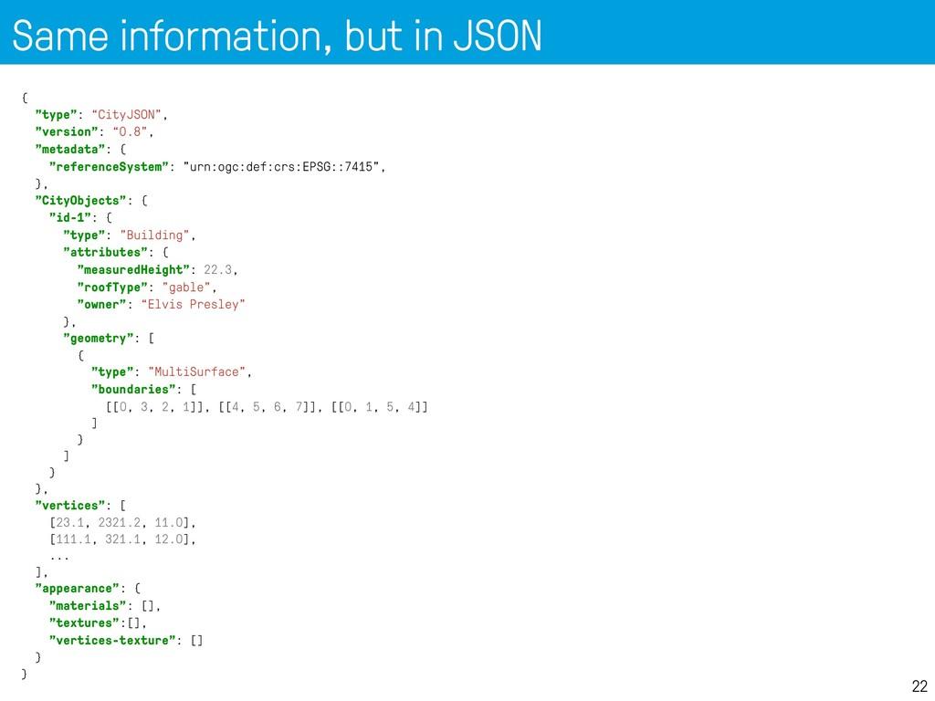 "Same information, but in JSON 22 { ""type"": ""Cit..."