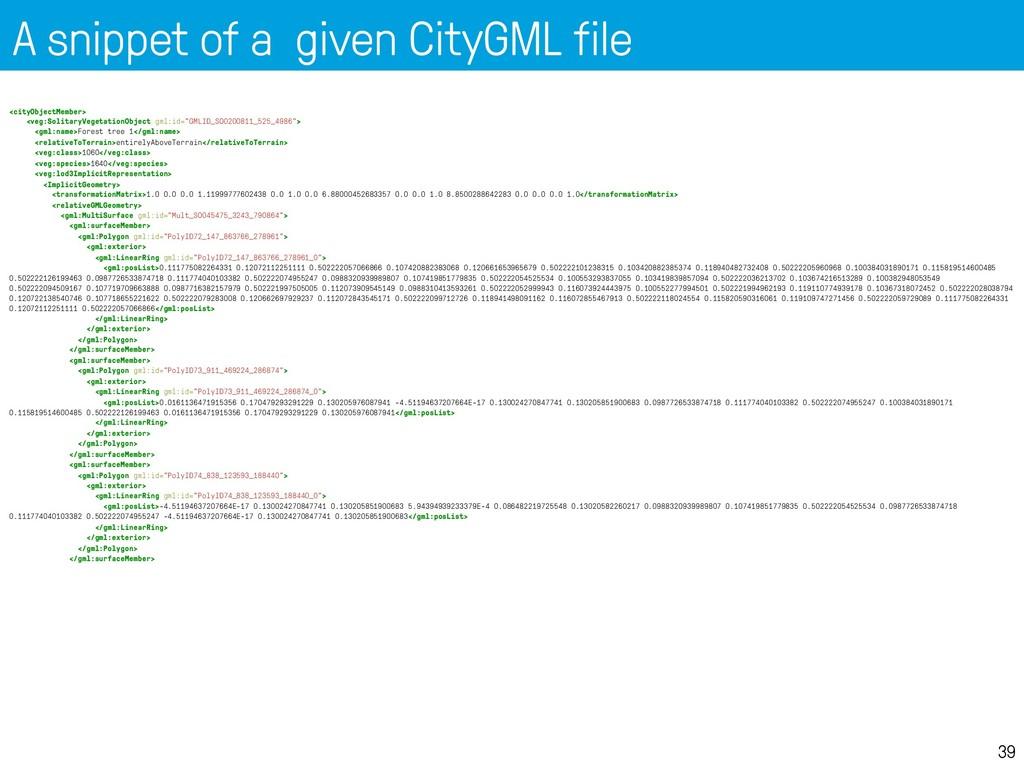 A snippet of a given CityGML file 39 <cityObjec...