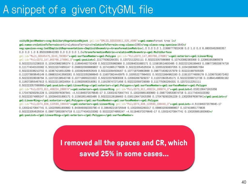 A snippet of a given CityGML file 40 <cityObjec...