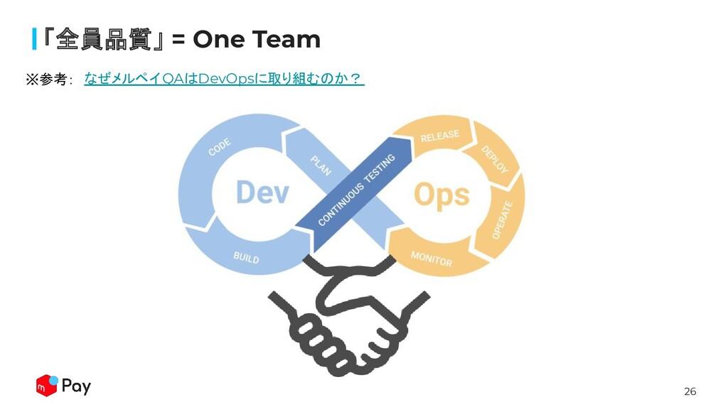 26 「全員品質」 = One Team なぜメルペイQAはDevOpsに取り組むのか? ※参...
