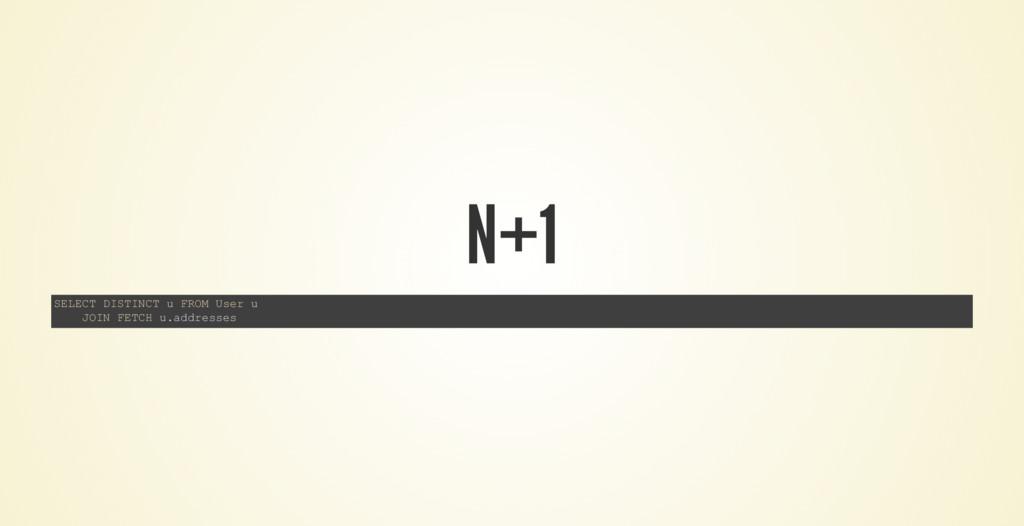 N+1 SELECT DISTINCT u FROM User u JOIN FETCH u....