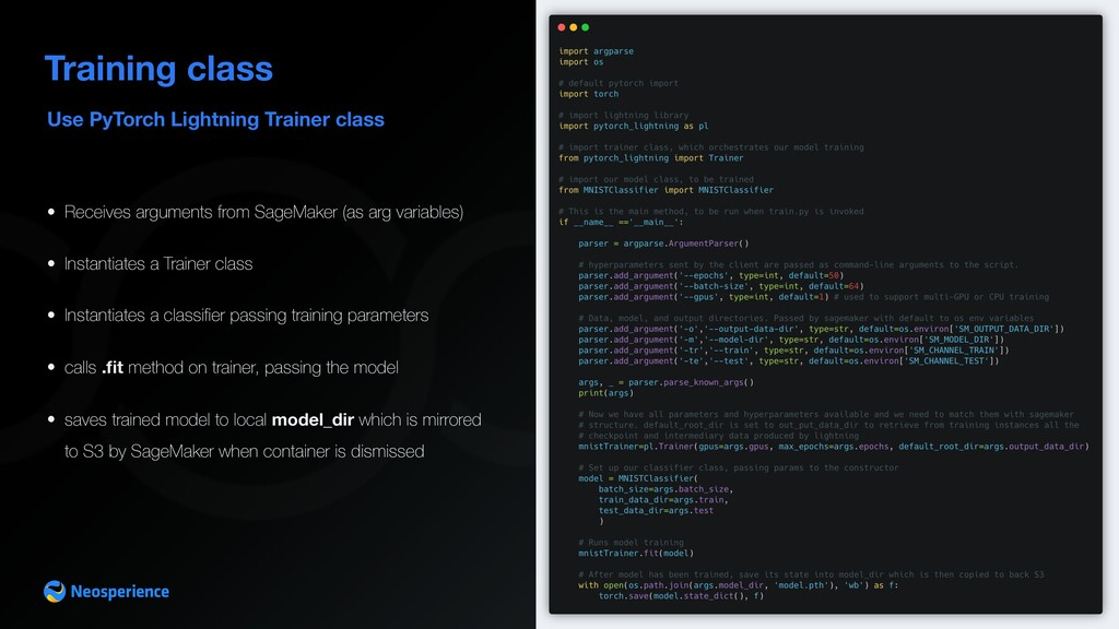 Use PyTorch Lightning Trainer class Training cl...