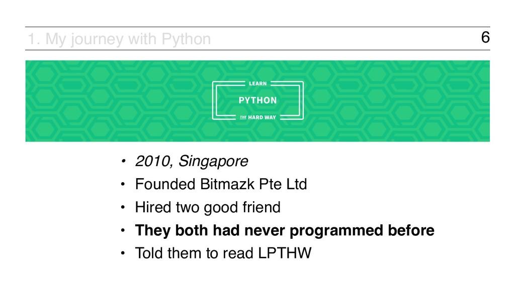6 • 2010, Singapore • Founded Bitmazk Pte Ltd •...
