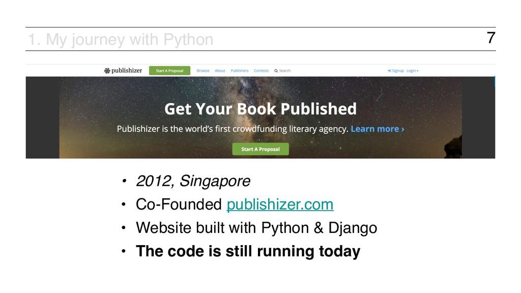 7 • 2012, Singapore • Co-Founded publishizer.co...