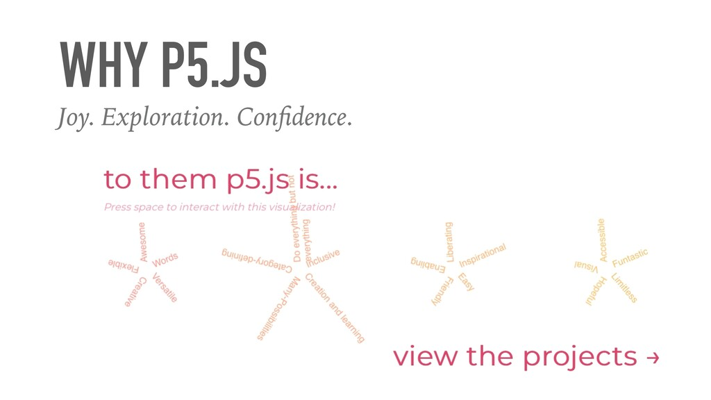 Joy. Exploration. Con f i dence. WHY P5.JS