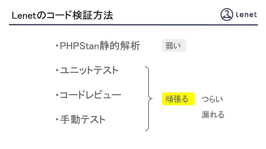 ・PHPStan静的解析 ・ユニットテスト ・コードレビュー ・手動テスト Lenet...