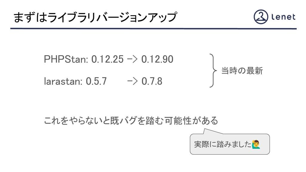 まずはライブラリバージョンアップ PHPStan: 0.12.25 -> 0.12.90 ...