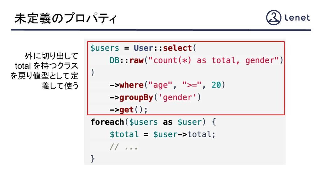 未定義のプロパティ 外に切り出して total を持つクラス を戻り値型として定 義して使う