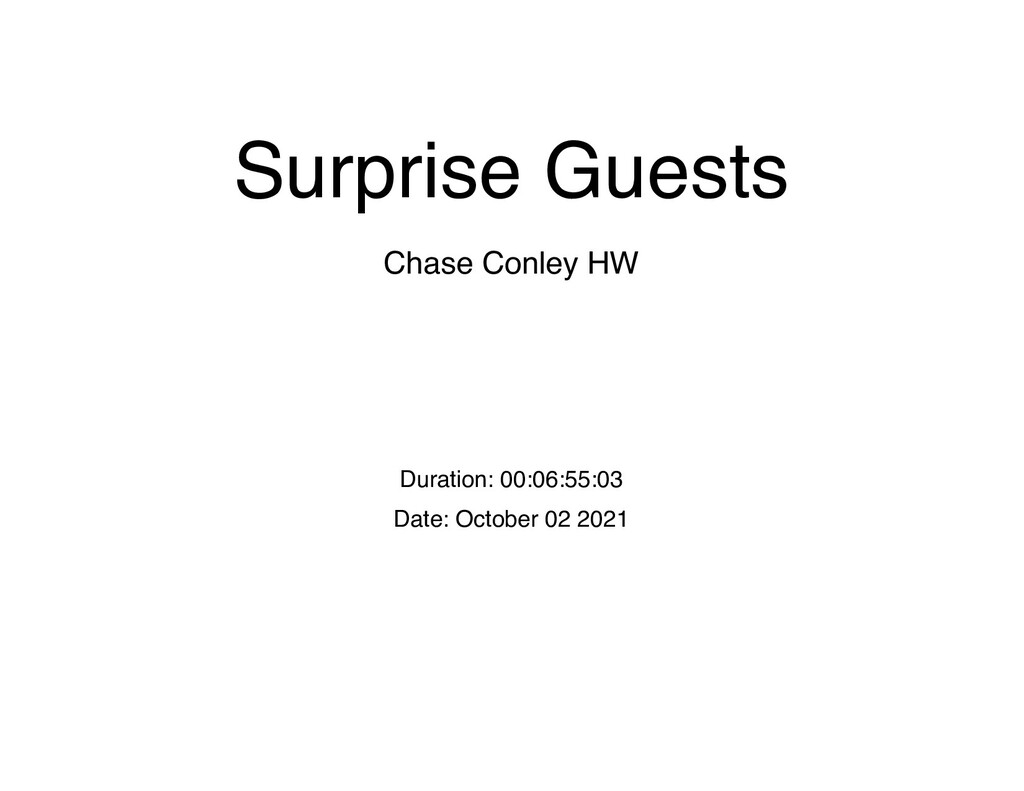 Surprise Guests Chase Conley HW Duration: 00:06...
