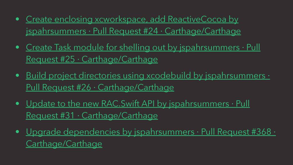 • Create enclosing xcworkspace, add ReactiveCoc...