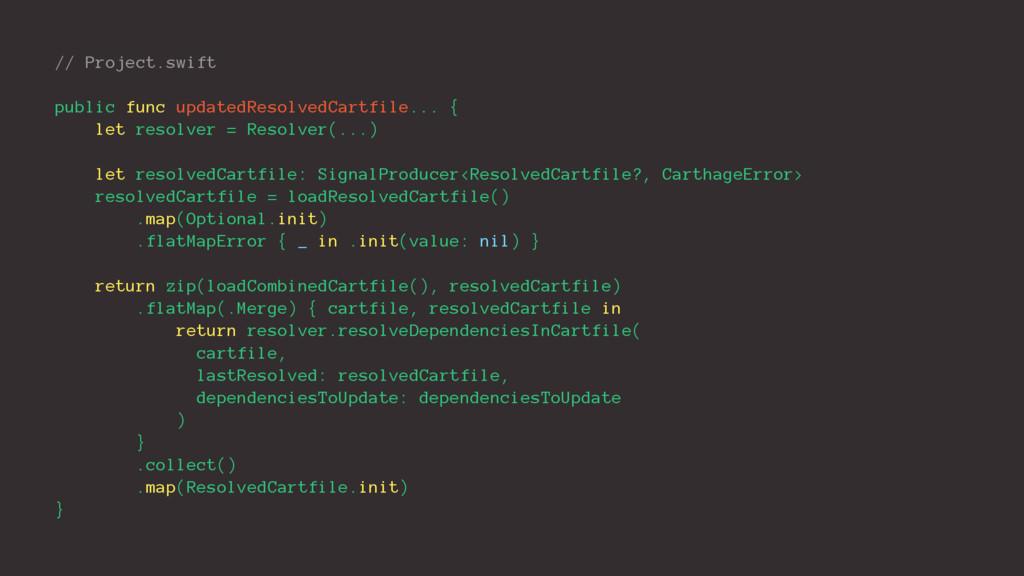 // Project.swift public func updatedResolvedCar...