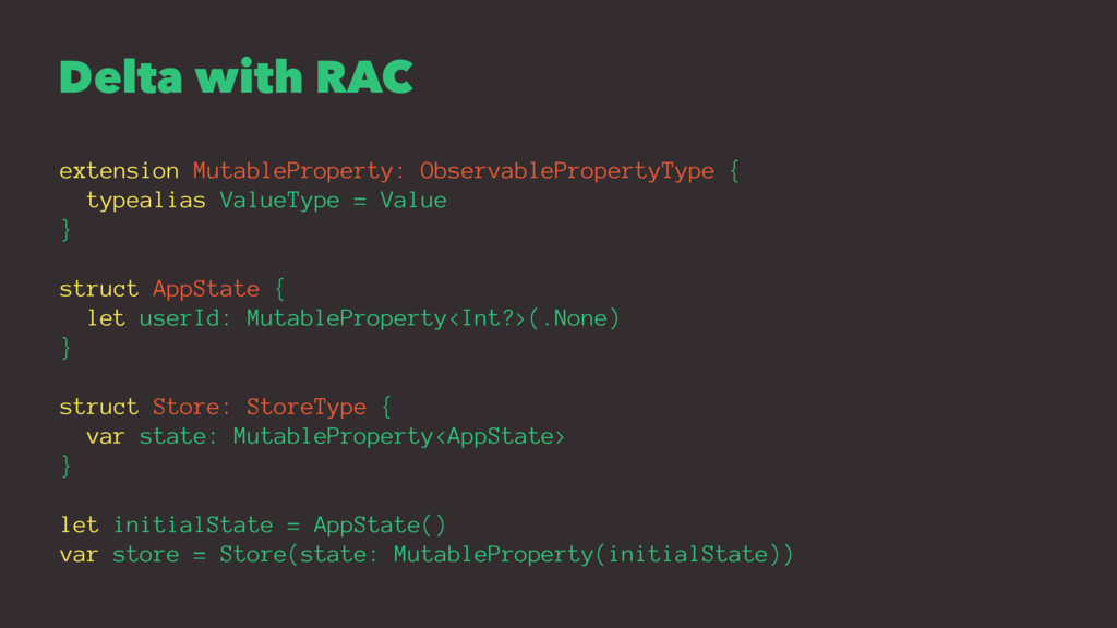 Delta with RAC extension MutableProperty: Obser...