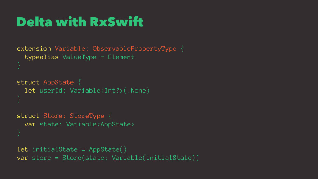 Delta with RxSwift extension Variable: Observab...