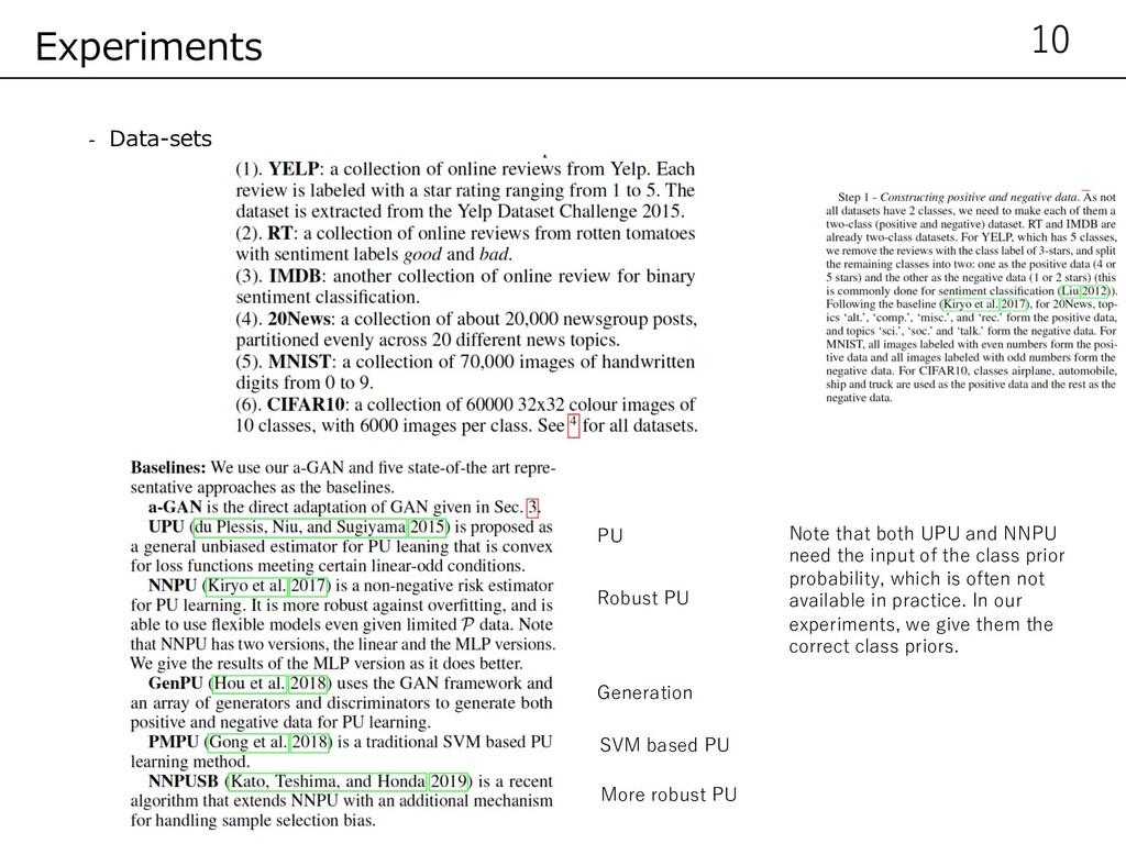 - Data-sets 10 Experiments PU Robust PU Generat...