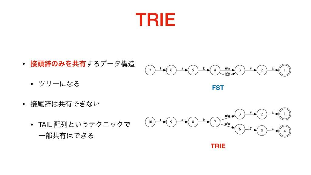 TRIE • ಄ࣙͷΈΛڞ༗͢Δσʔλߏ  • πϦʔʹͳΔ  • ඌࣙڞ༗Ͱ͖ͳ͍ ...