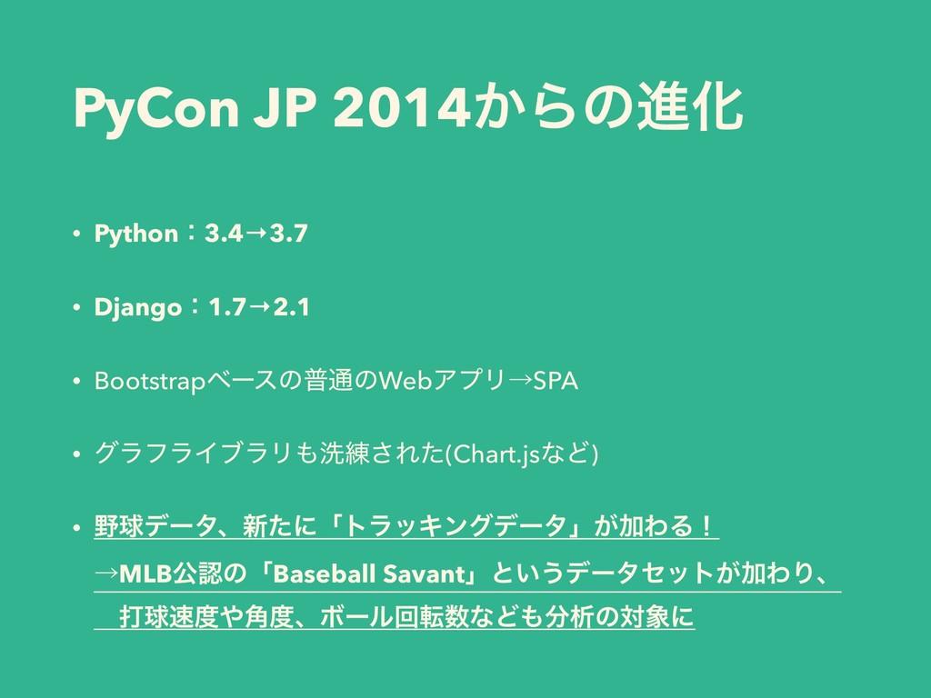 PyCon JP 2014͔ΒͷਐԽ • Pythonɿ3.4→3.7 • Djangoɿ1....