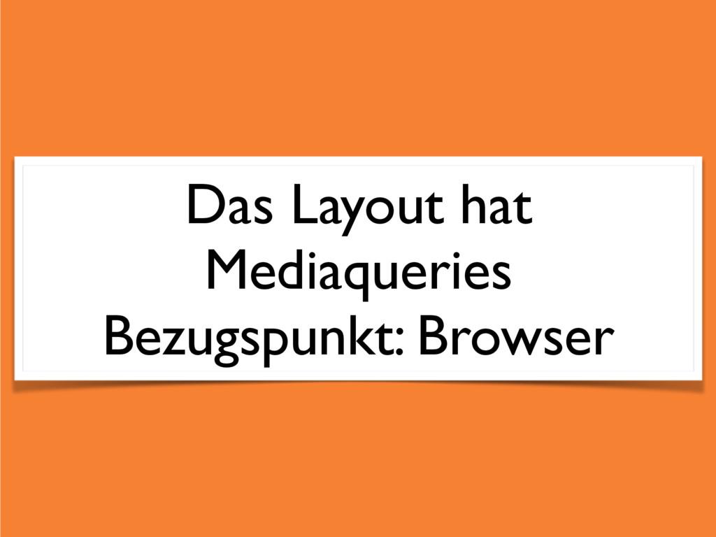 Das Layout hat Mediaqueries Bezugspunkt: Browser