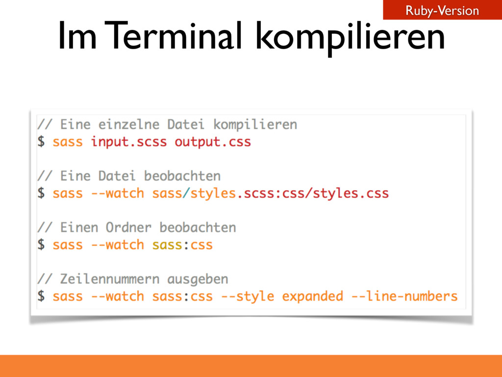 Im Terminal kompilieren Ruby-Version