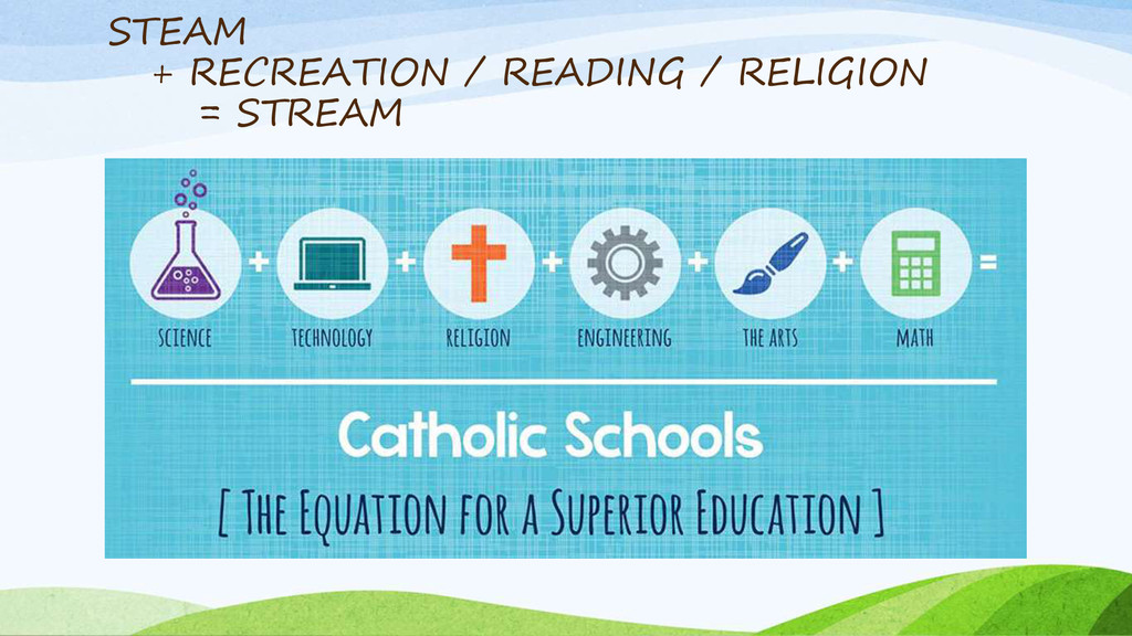 STEAM + RECREATION / READING / RELIGION = STREAM