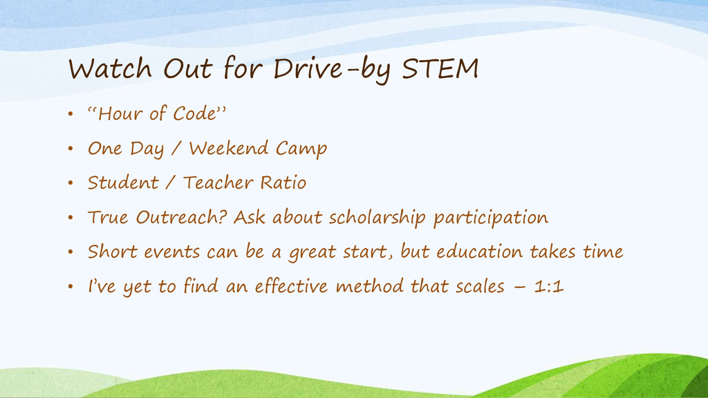 """Watch Out for Drive-by STEM • """"Hour of Code"""" • ..."""