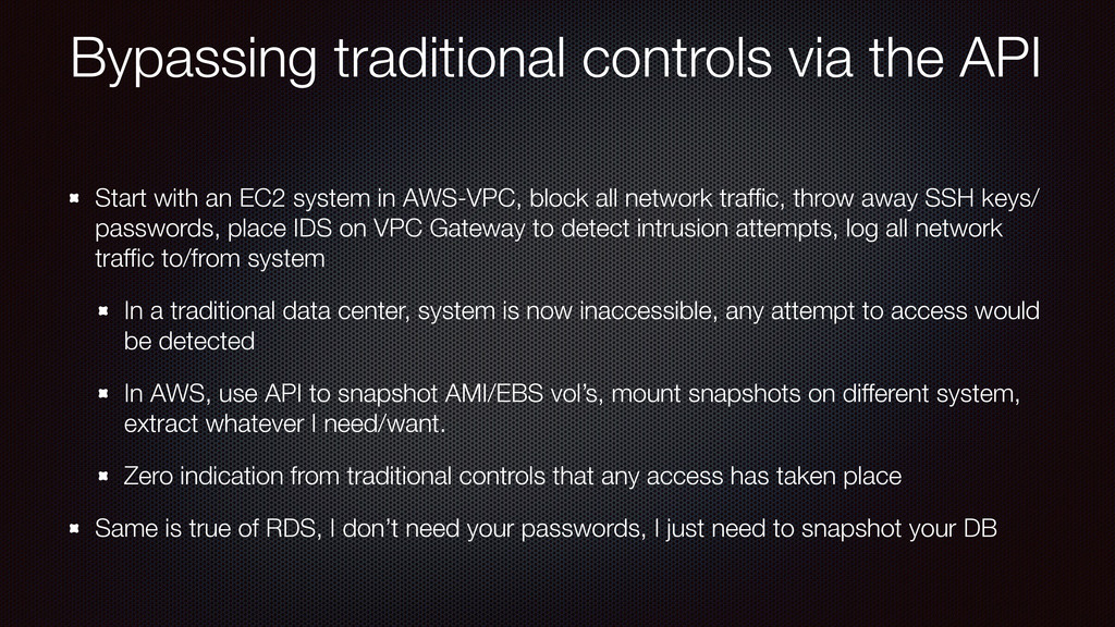 Bypassing traditional controls via the API Star...