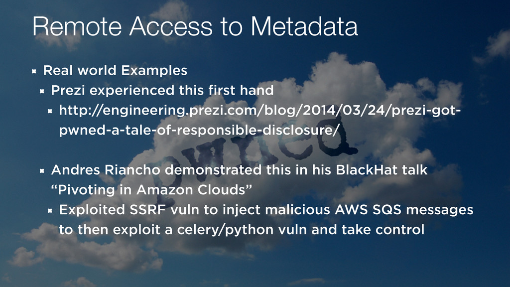 Remote Access to Metadata Real world Examples P...