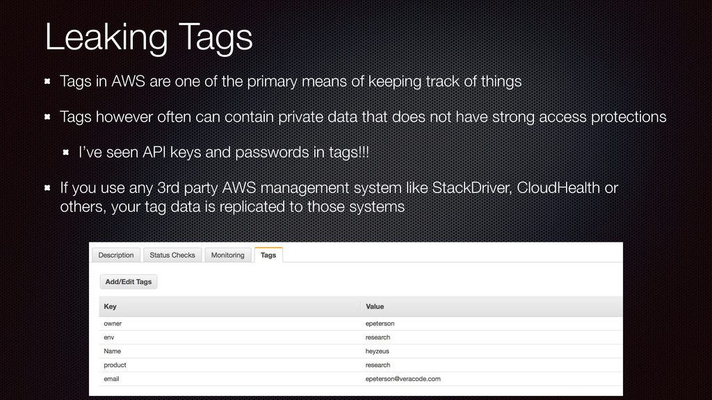 Leaking Tags Tags in AWS are one of the primary...