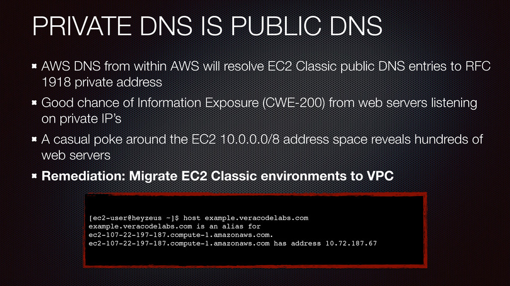 PRIVATE DNS IS PUBLIC DNS AWS DNS from within A...