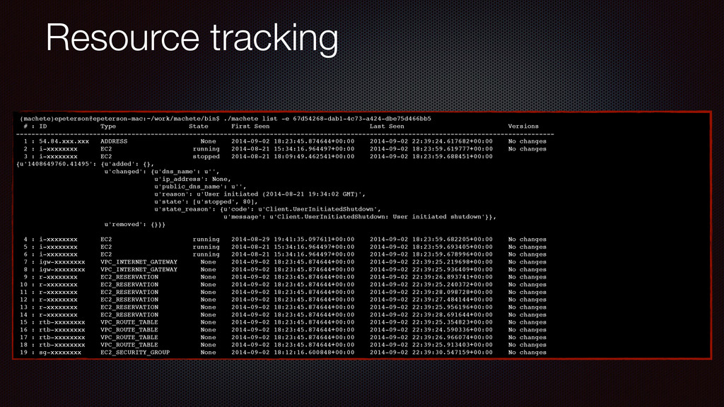 Resource tracking (machete)epeterson@epeterson-...
