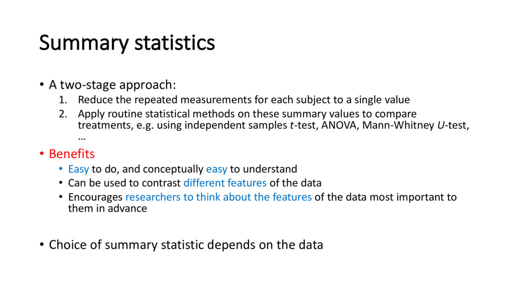Summary statistics • A two-stage approach: 1. R...