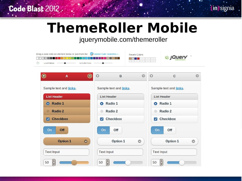ThemeRoller Mobile jquerymobile.com/themeroller