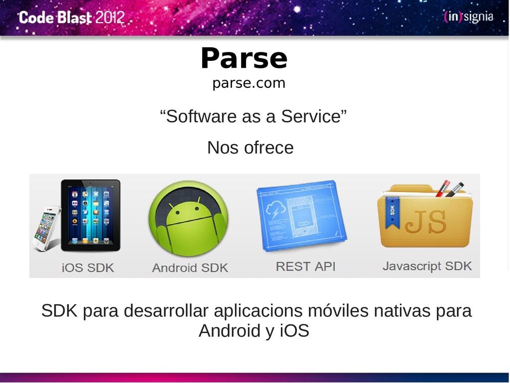 Parse parse.com SDK para desarrollar aplicacion...